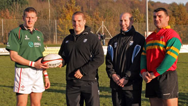 Matthew Campbell, Gethin Jenkins, Tom Shanklin & Rowland Phillips prior to the Welsh Charitables RFC fixture with the Welsh Deaf Rugby team